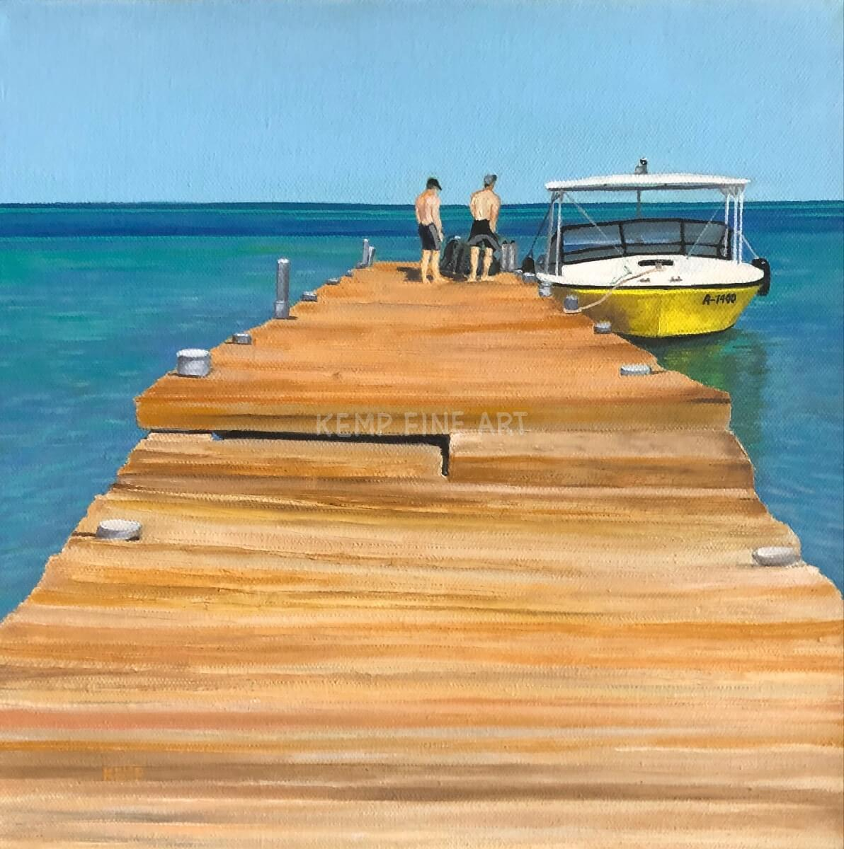 Let's Dive   Oil on Canvas - by Jim Kemp