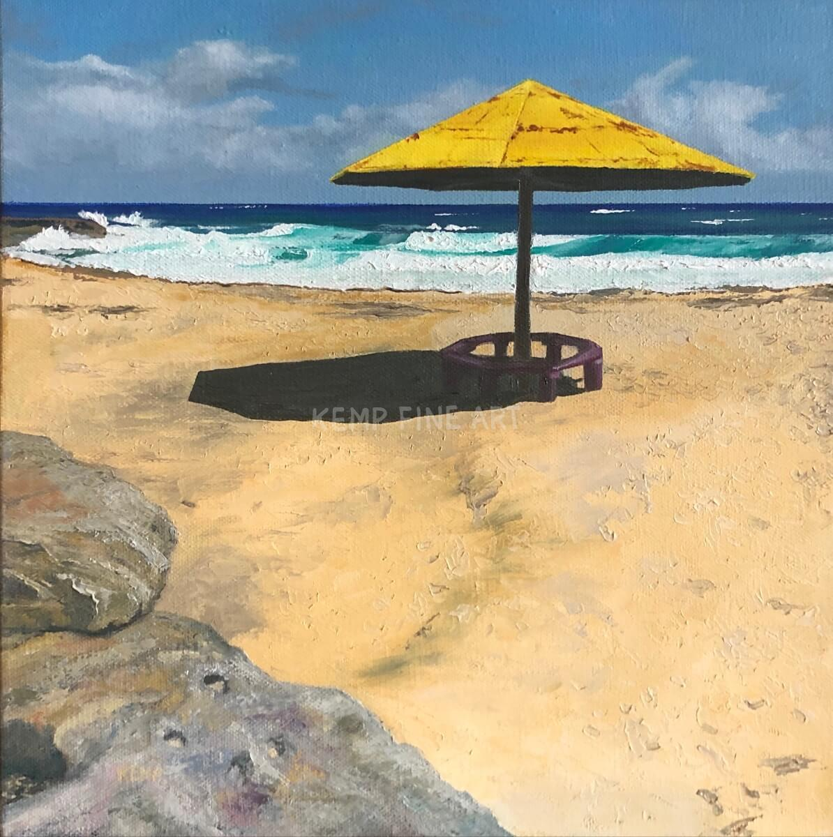 The Yellow Umbrella | Oil on Canvas - by Jim Kemp