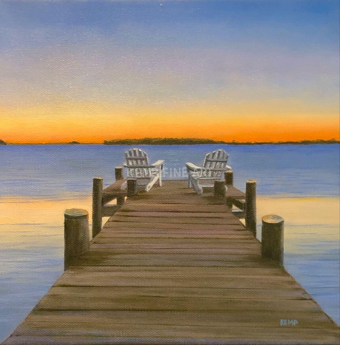 Twilight on the Bay | Oil on Canvas - by Jim Kemp