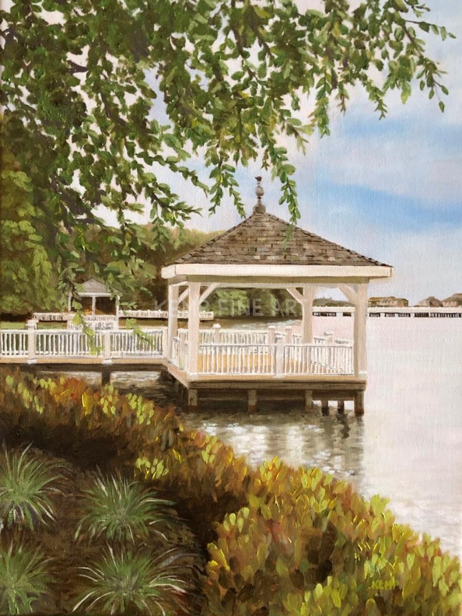Silver Lake Gazebos | Oil on Canvas - by Jim Kemp