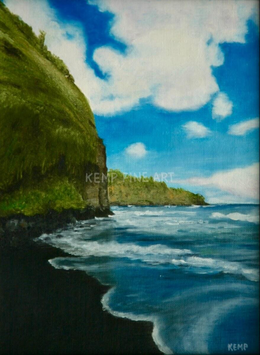 Big Island Black Beach | Oil on Canvas - by Jim Kemp