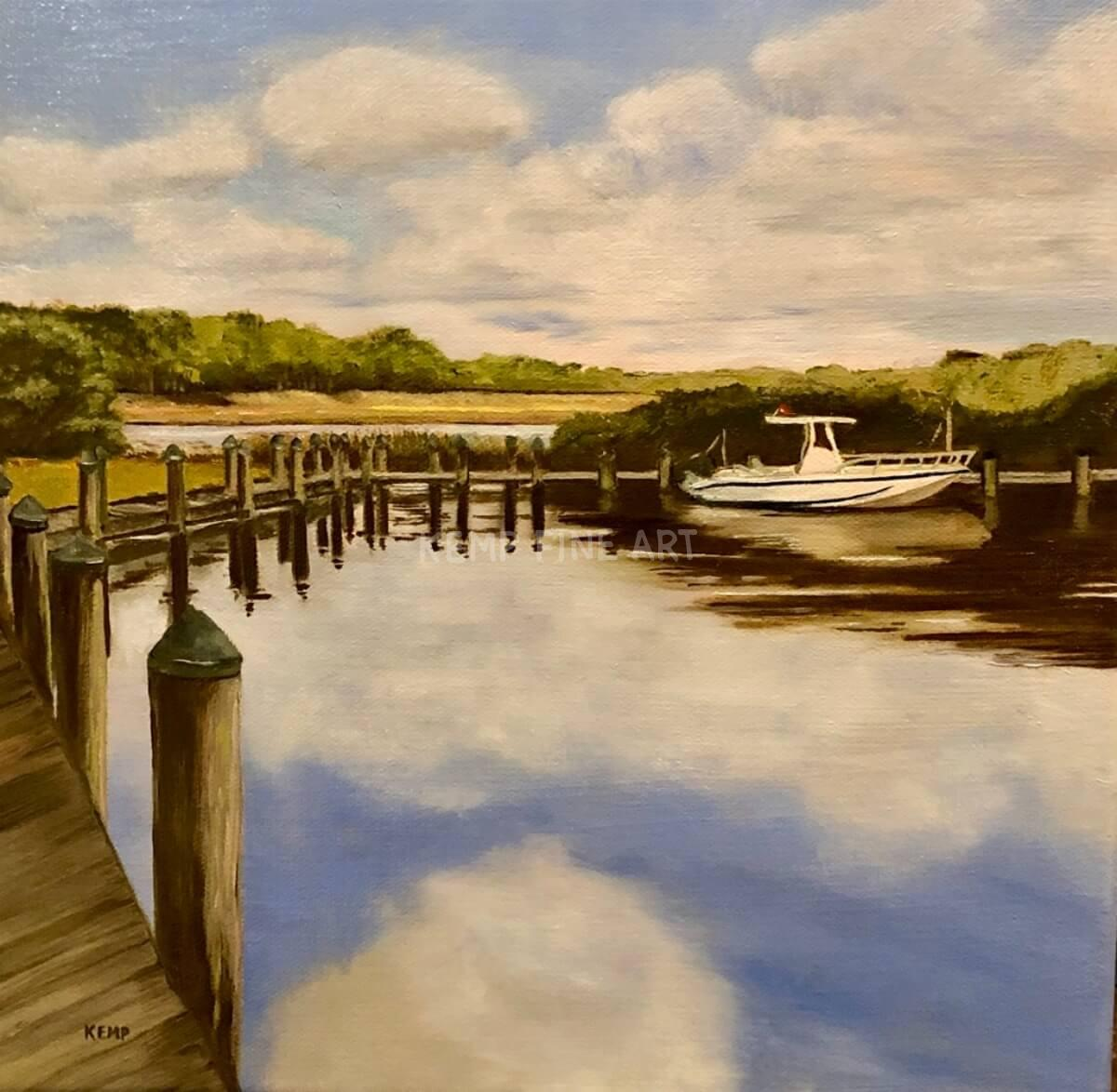 Docked - Henlopen Acres | Oil on Canvas - by Jim Kemp