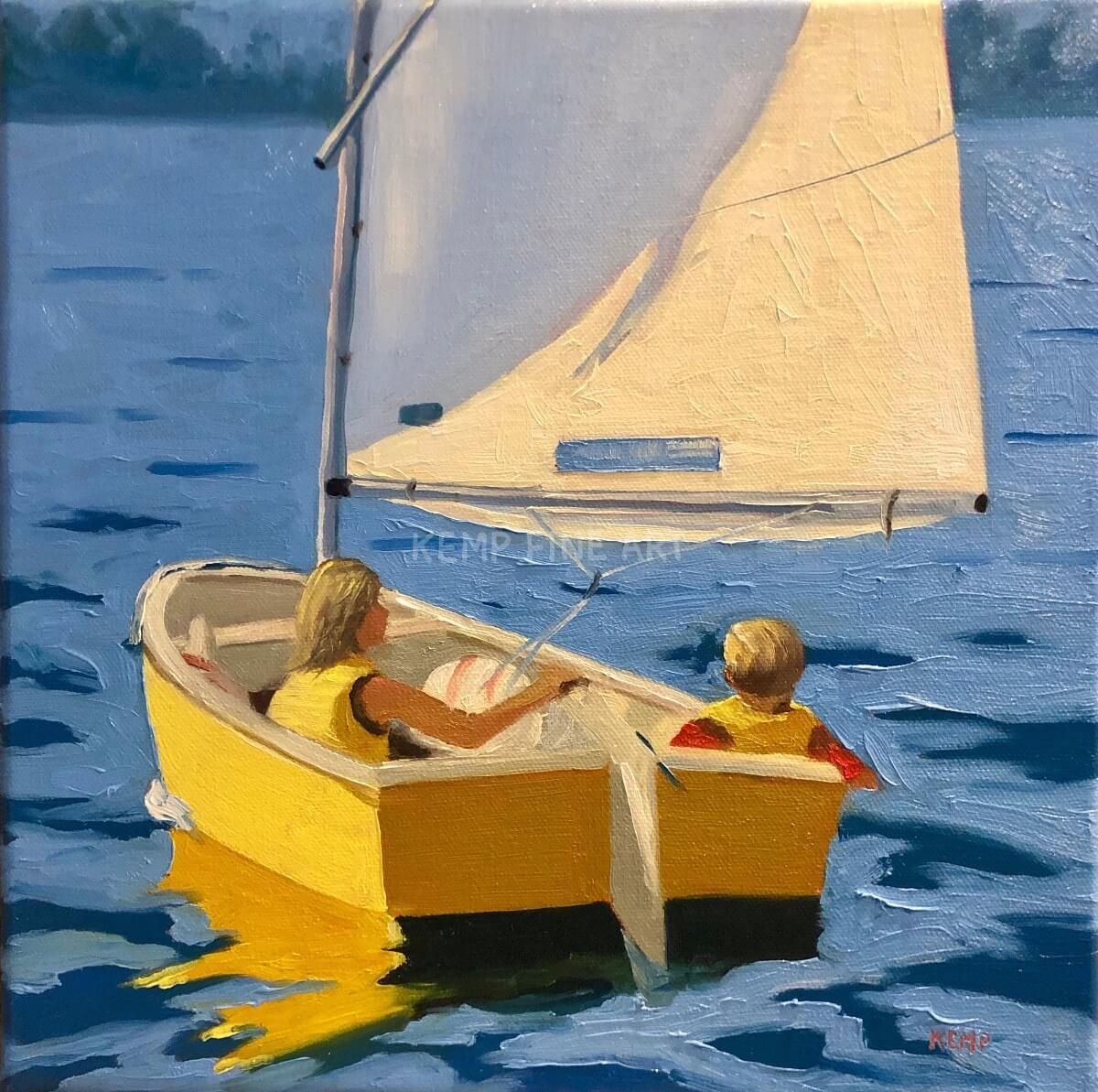 Yellow Dinghy | Oil on Canvas - by Jim Kemp