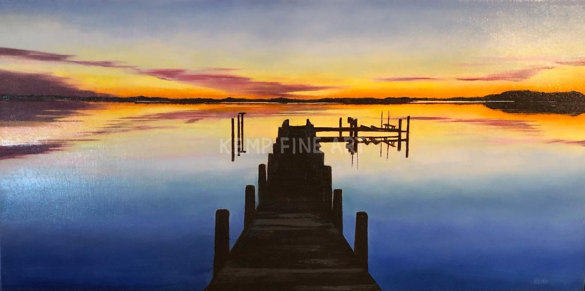 Sunset on Cox Creek | Oil on Canvas - by Jim Kemp